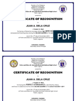 OFFICIAL CERTIFICATE RECOGNITION HONORS