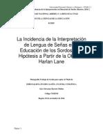 INCIDENCIAS DE LA INTERPRETACION DE EDUCACION DE SORDOS