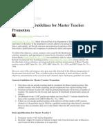 2019 DepEd Guidelines for Master Teacher Promotion
