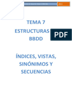 Tema 7 - Indices Vistas en Oracle (Curso 2011)