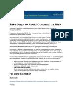 Take Steps to Avoid Coronavirus Risk
