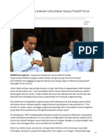 WHO Tak Terkejut Jokowi Umumkan Kasus Positif Virus Corona