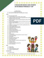 lista de utiles primero Martita 2020