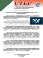 DÍA INTERNACIONAL DE LA MUJER Y LA IGUALDAD DE GÉNERO ENTRE HOMBRES Y MUJERES