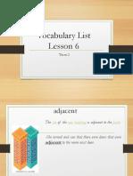 Vocabulary Lesson 6 Term 2