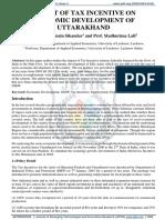 IMPACT OF TAX INCENTIVE ON ECONOMIC DEVELOPMENT OF UTTARAKHAND