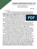 Full Gospel Lighthouse Church Newsletter March 2020