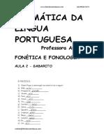 FONÉTICA E FONOLOGIA - AULA 2 GABARITO