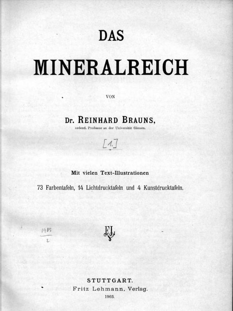 Reinhard Brauns Das Mineralreich - Band 1