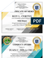Certificate Awards by Subject, Conduct and Attendance