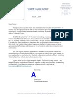 Letter From Sen. Rick Scott U.S. Service Academies 2020