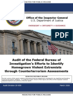 Audit of the Federal Bureau of Investigation's Efforts to Identify Homegrown Violent Extremists Through Counterterrorism Assessments