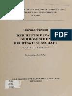 Leopold Wenger - Der heutige Stand der romischen