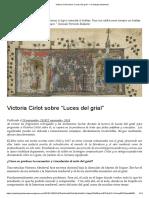 """Victoria Cirlot sobre """"Luces del grial"""" – un trabajo tartamudo"""