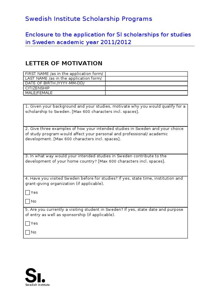 Motivation Letter for SI Scholarship 2011-2012