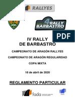 Reglamento Particular IV Rally de Barbastro