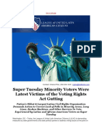 LULAC - Super Tuesday Minority Voters Were Latest Victims of the Voting Rights Act Gutting