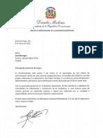 Carta de felicitación del presidente Danilo Medina con motivo del 18 aniversario del periódico El Día