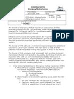Cleveland EMS coronavirus memo No. 1