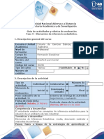 Guía de actividades y rúbrica de evaluación - Fase 2 - Elementos de inferencia estadística