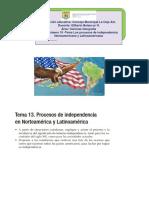 Clase número 18 -Tema Los procesos de independencia Norteamericana y Latinoamericana
