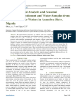 Physicochemical Analysis and Seasonal Variations of Sediment and Water Samples from Selected Surface Waters in Anambra State, Nigeria