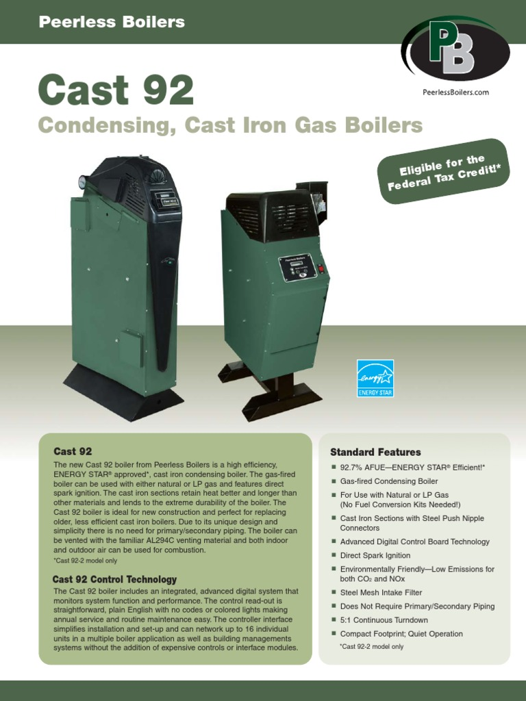Peerless Cast 92 Cast Iron High Efficiency Boiler Brochure | Boiler ...