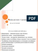 Finansije u biznisu - Predavanje 9