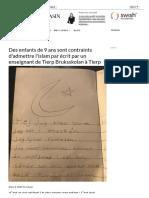 Des Enfants de 9 Ans Sont Contraints d'Admettre l'Islam Par Écrit Par Un Enseignant de Tierp Bruksskolan à Tierp