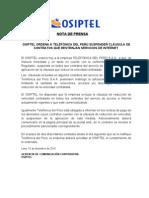 NP Osiptel ordena suspensión de contratos que reduzcan velocidad internet