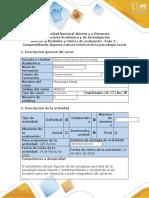 Guía de actividades y rúbrica de evaluación - Fase 2 - Comprendiendo algunos marcos teóricos de la psicología social