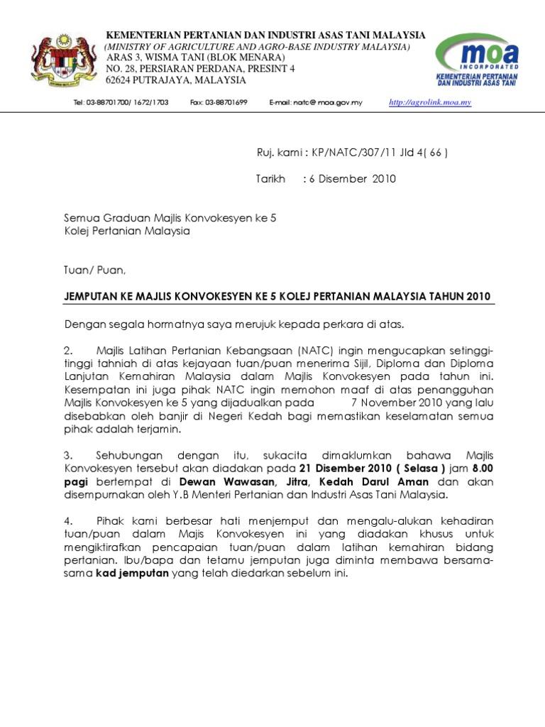 surat rasmi jemputan ke majlis makan malam surasmi k
