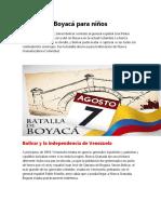 Batalla de Boyacá para niños 7 DE AGOSTO