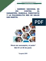 PLAN DEL BARRIDO NACIONAL DE VACUNACIÓN CONTRA, EL SARAMPIÓN, RUBEOLA, PARATODITIS Y LA POLIOMELITIS 2019.docx