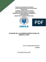 FILOSOFÍA DE LA ALTERIDAD INTERCULTURAL EN AMÉRICA LATINA