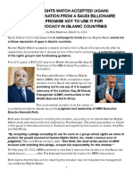 HRW Accepts Saudi Donations