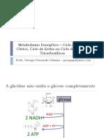 Ciclo do Ácido Cítrico, Ciclo do Krebs ou Ciclo dos Ácidos Tricarboxílicos