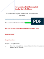 Test Bank for Learning and Memory 3rd Edition by Mark a. Gluck