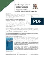 Reporte de práctica - Cálculo de la aceleración de la gravedad