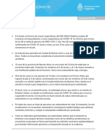 Parte oficial del Ministerio de Salud de Nación sobre el coronavirus
