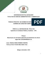 MANUAL PARA USO DE KARDEX APLICANDO PROCEDIMIENTOS DE CALCULO SEGUN NIC 2 EN BANARIEGO S.A.