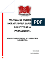 MANUAL DE POLITICAS Y NORMAS PARA LA UNIDAD BIBLIOTECARIA PARACENTRAL (1) (1)