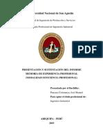 PRESENTACIÓN Y SUSTENTACIÓN DEL INFORME MEMORIA DE EXPERIENCIA PROFESIONAL (MODALIDAD SUFICIENCIA PROFESIONAL)