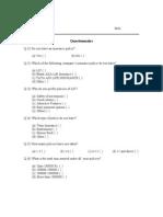 Shubhendra Questionnaire