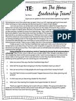 parent update letter to  honu leadership team
