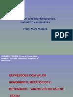 Expressões com valor homonímico, metafórico e metonímico.