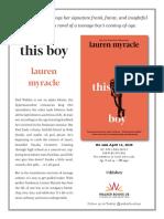 This Boy by Lauren Myracle Press Release