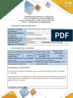 Guía de actividades y rúbrica de evaluación - Fase 2 - Preproducción Radiofónica