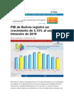 PIB de Bolivia registró un crecimiento de 3