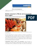 CONSUMO DE CARNE PROCESADA BOLIVIA